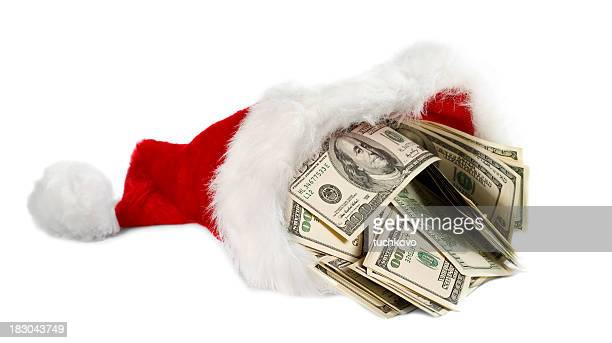santa's hat - christmas cash stock pictures, royalty-free photos & images