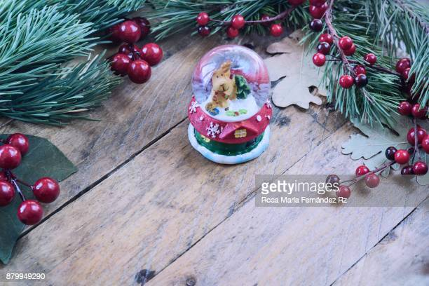 Santa's Magic Crystal Ball with reindeer inside on rustic wooden background framed with fir tree branches and mistletoe seed. Selective focus and copy space