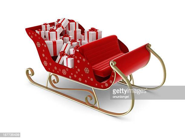 santa's sleigh - sleigh stock photos and pictures