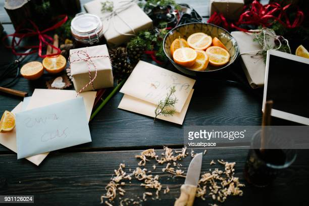 santa's workshop table - santas workshop stock photos and pictures