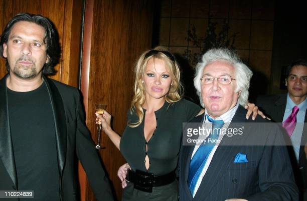 Sante d'Orazio Pamela Anderson and Tony Shafrazi during Valentino Fragrance Launch Party For Valentino V at Four Seasons in New York City New York...