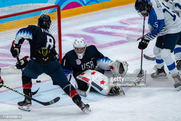 Santeri Sulku of Finland scores a goal against Goalkeeper Dylan Silverstein of United States during Men's 6Team Tournament Preliminary Round Group A...