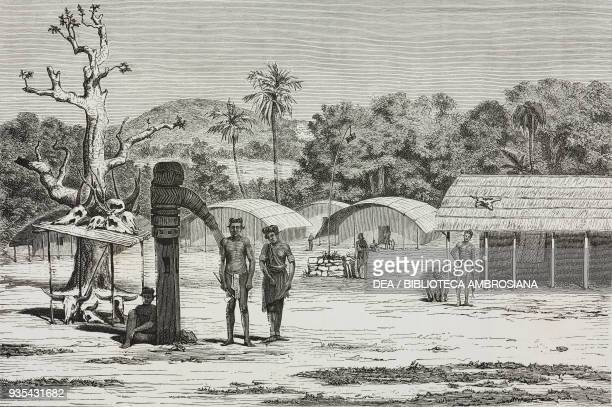 Santhal village Rajmahal Mountains engraving from India travel in Central India and Bengal by Louis Rousselet