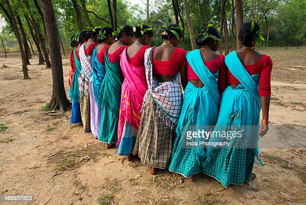 santhali tribal dance - west bengal stock pictures, royalty-free photos & images