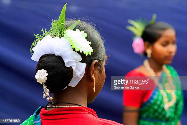 Santhali women dressed for a festive celebration The Santhal are the largest tribal community in India They have a distinct culture of their own...