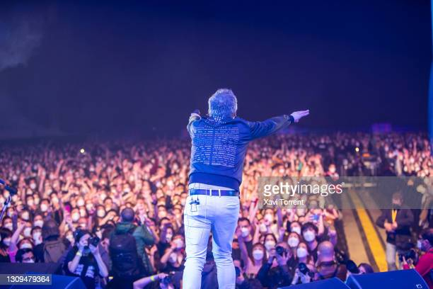 Santi Balmes of Love of Lesbian addresses the audience during the Love of Lesbian's concert at Palau Sant Jordi on March 27, 2021 in Barcelona,...