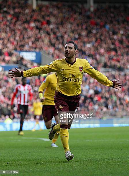 Santi Carzola of Arsenal celebrates after scoring the first goal during the Barclays Premier League match between Sunderland and Arsenal at the...