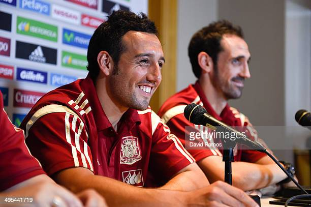 Santi Cazorla and Juanfran of Spain face the media during a press conference at the Mandarin Hotel on June 3 2014 in Washington DC
