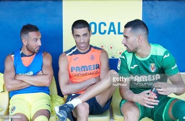 Santi Cazorla Bruno Soriano and Sergio Asenjo of Villarreal CF during the friendly match between Villarreal CF and Hercules at Ciudad Deportiva of...