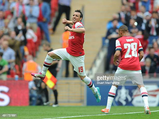 Santi Cazorla celebrates scoring for Arsenal during the FA Cup Final between Arsenal and Hull City at Wembley Stadium on May 17 2014 in London England