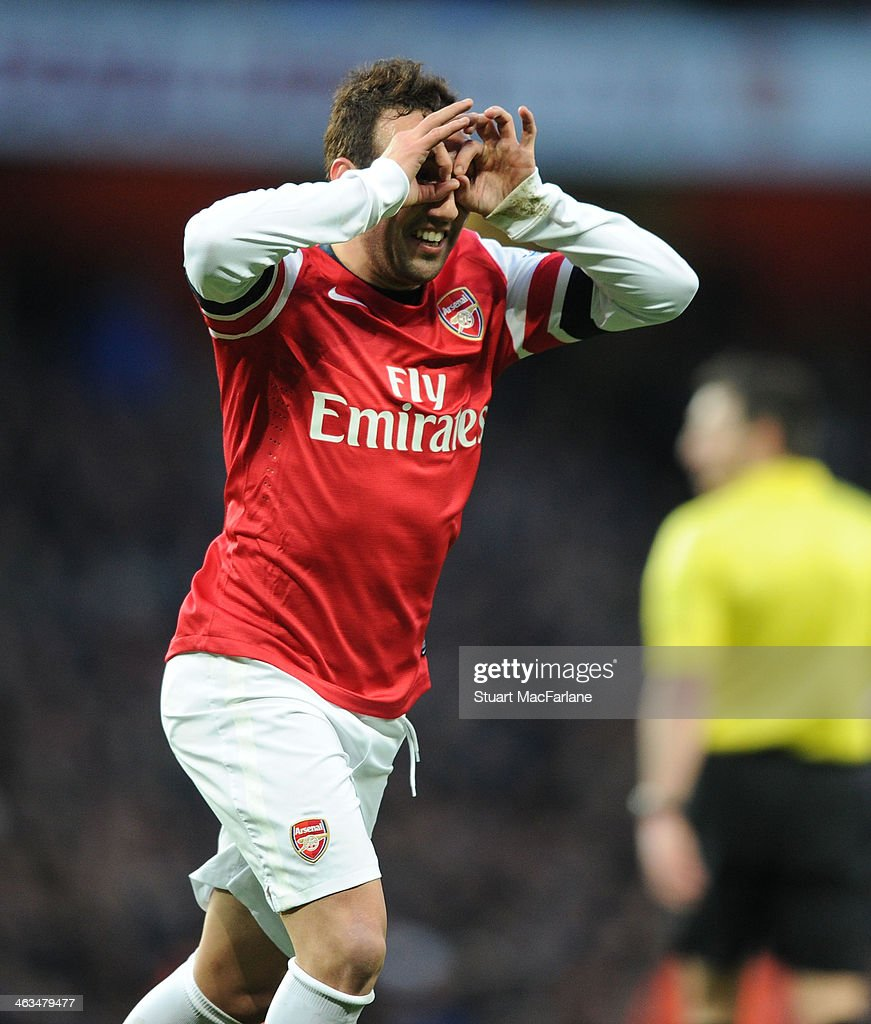 Santi Cazorla celebrates scoring the 2nd Arsenal goal during the Barclays Premier League match between Arsenal and Fulham at Emirates Stadium on January 18, 2014 in London, England.