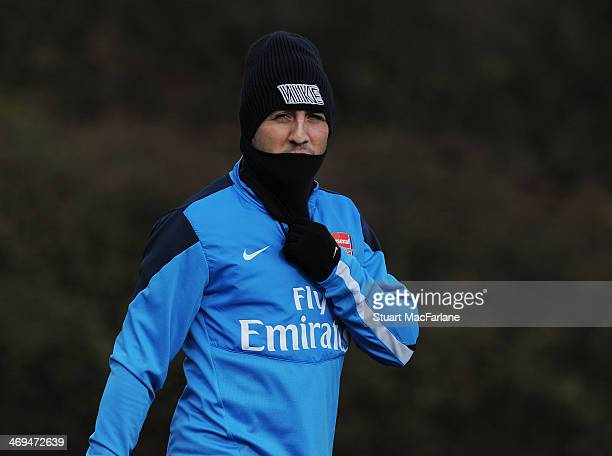Santi Cazorla of Arsenal during a training session at London Colney on February 15 2014 in St Albans England