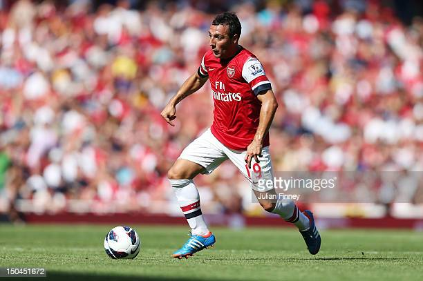 Santi Cazorla of Arsenal in action during the Barclays Premier League match between Arsenal and Sunderland at Emirates Stadium on August 18, 2012 in...