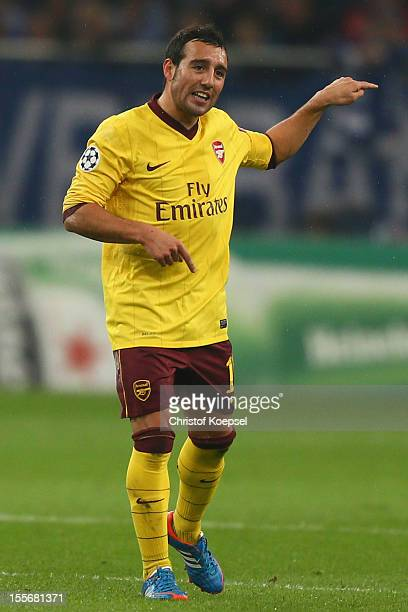 Santi Cazorla of Arsenal issues instructions during the UEFA Champions League group B match between FC Schalke 04 and Arsenal FC at Veltins Arena on...