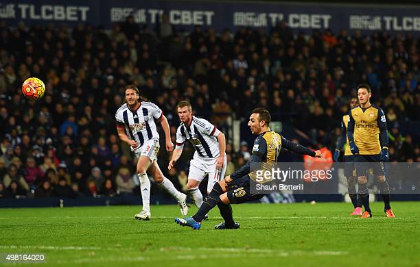 Santi Cazorla of Arsenal misses the penalty kick during the Barclays Premier League match between West Bromwich Albion and Arsenal at The Hawthorns...