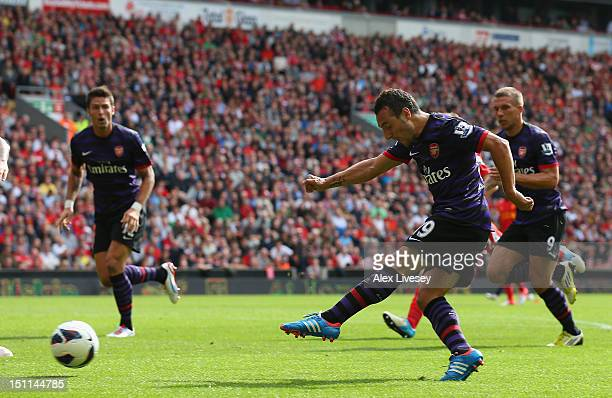 Santi Cazorla of Arsenal scores the second goal during the Barclays Premier League match between Liverpool and Arsenal at Anfield on September 2 2012...