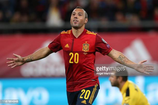 Santi Cazorla of Spain celebrates after scoring his team's second goal during the UEFA Euro 2020 Qualifier between Spain and Malta on November 15...