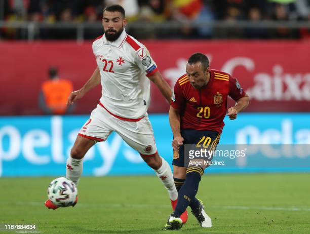 Santi Cazorla of Spain scores his team's second goal during the UEFA Euro 2020 Qualifier between Spain and Malta on November 15 2019 in Cadiz Spain