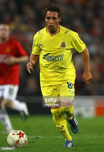Santi Cazorla of Villareal in action during the UEFA Champions League Group E match between Manchester United and Villareal at Old Trafford on...