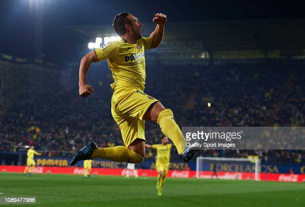 Santi Cazorla of Villarreal ccelebrates after scoring his sides first goal during the La Liga match between Villarreal CF and Real Madrid CF at...
