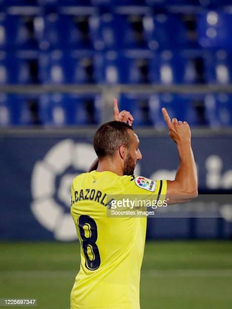 Santi Cazorla of Villarreal celebrates 1-2 during the La Liga Santander match between Getafe v Villarreal at the Coliseum Alfonso Perez on July 8,...