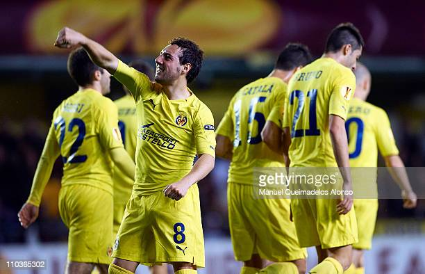 Santi Cazorla of Villarreal celebrates after scoring during the UEFA Europa League round of 16 second leg match between Villarreal and Bayer...