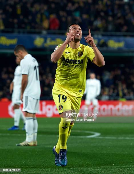 Santi Cazorla of Villarreal celebrates after scoring his sides first goal during the La Liga match between Villarreal CF and Real Madrid CF at...