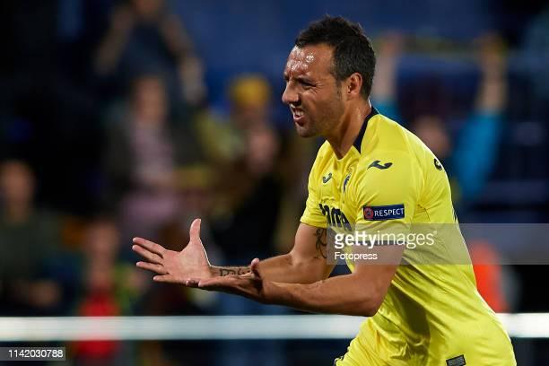 Santi Cazorla of Villarreal CF celebrates after scoring his team's first goal during the UEFA Europa League Quarter Final First Leg match between...