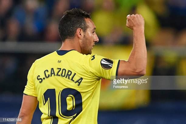 Santi Cazorla of Villarreal CF celebrates after scoring his team's first goal during the UEFA Europa League Quarter Final First Leg match between...