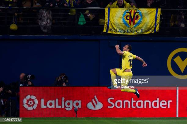 Santi Cazorla of Villarreal CF celebrates after scoring the opening goal during the La Liga match between Villarreal CF and Real Madrid CF at Estadio...