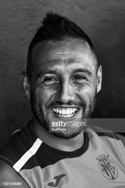 Santi Cazorla of Villarreal CF smiles prior to the PreSeason Friendly match between Villarreal CF and Hercules CF at Mini Estadi on July 17 2018 in...