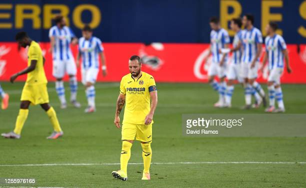 Santi Cazorla of Villarreal looks on after Diego Llorente of Real Sociedad scores the second goal during the Liga match between Villarreal CF and...