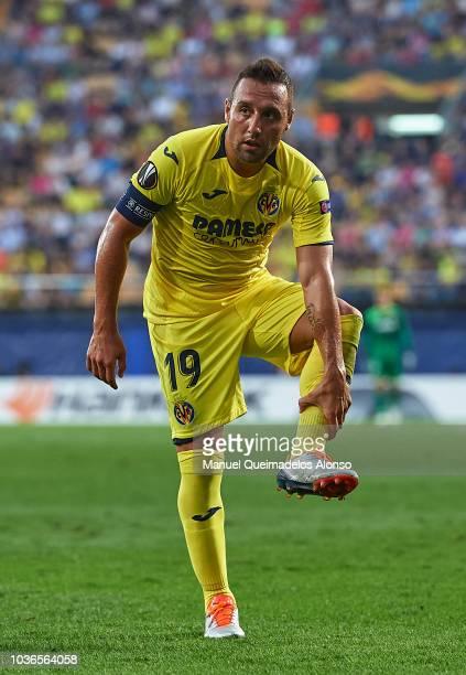 Santi Cazorla of Villarreal reacts during the UEFA Europa League Group G match between Villarreal CF and Rangers at Estadio de la Ceramica on...