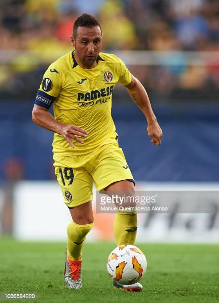 Santi Cazorla of Villarreal runs with the ball during the UEFA Europa League Group G match between Villarreal CF and Rangers at Estadio de la...