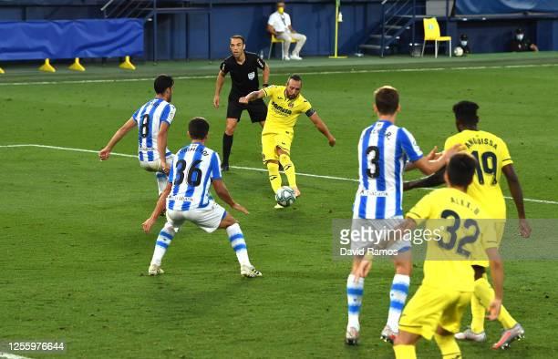 Santi Cazorla of Villarreal scores a goal during the Liga match between Villarreal CF and Real Sociedad at Estadio de la Ceramica on July 13, 2020 in...