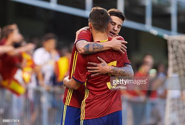 Santi Mina and Alex Grimaldo of Spain U21 celebrates his goal during the UEFA Euro U21 2017 Qualifiers match at Nou Estadi Castlia Castellon de la...