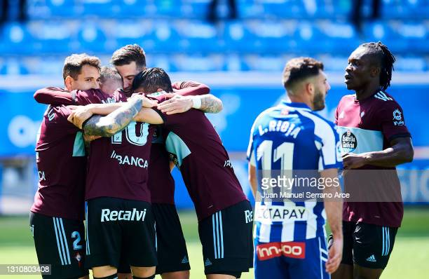 "Santi Mina of Celta de Vigo celebrates with his teammates Hugo Mallo, Iago Aspas and Manuel Agudo ""Nolito"" of Celta de Vigo after scoring his team's..."