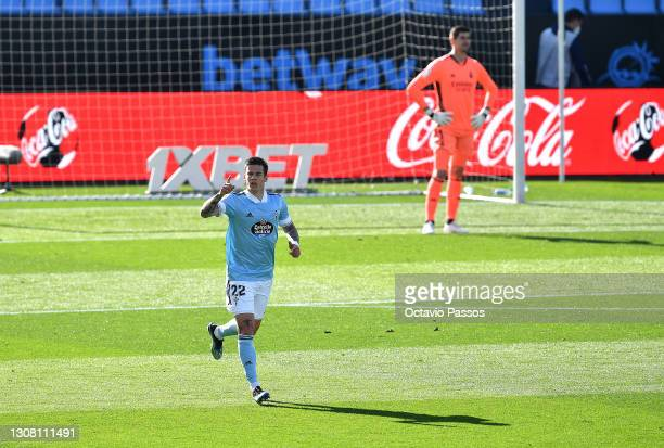 Santi Mina of Celta Vigo celebrates after scoring their side's first goal during the La Liga Santander match between RC Celta and Real Madrid at...