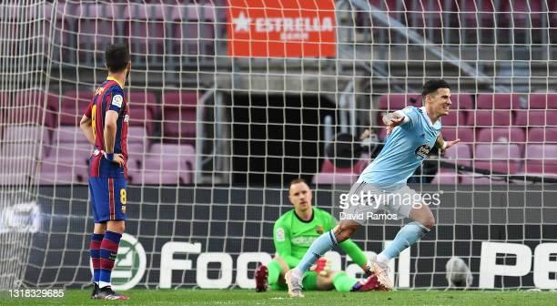 Santi Mina of Celta Vigo celebrates after scoring their team's second goal during the La Liga Santander match between FC Barcelona and RC Celta at...