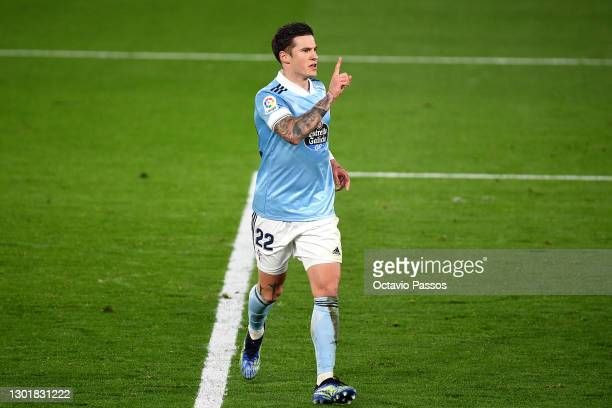Santi Mina of Celta Vigo celebrates scoring the first goal during the La Liga Santander match between RC Celta and Elche CF at Abanca-Balaidos on...