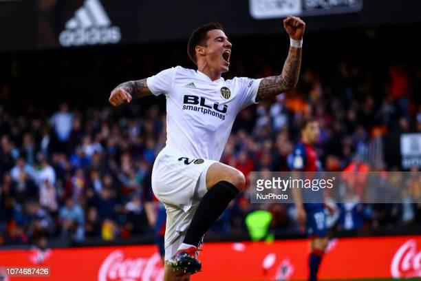 Santi Mina of Valencia CF celebrate after scoring the 10 goal during spanish La Liga match between Valencia CF vs SD Hueca at Mestalla Stadium on...