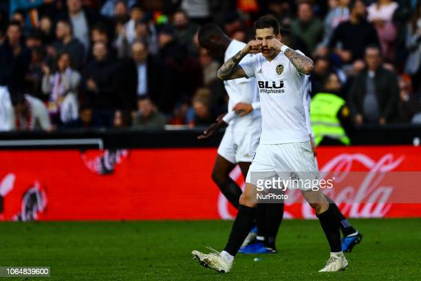 Santi Mina of Valencia CF celebrate after scoring the 10 goal with his teammate during la liga Match between Valencia CF and Rayo Vallecano a at...
