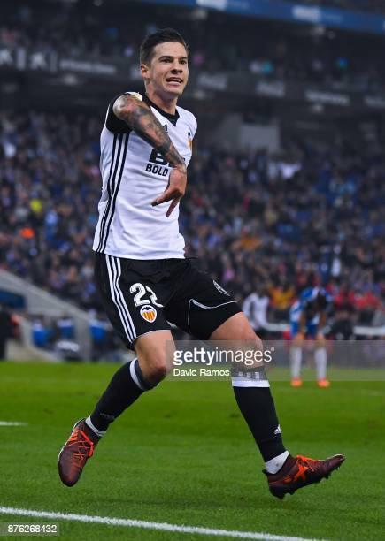 Santi Mina of Valencia CF celebrates after scoring his team's second goal during the La Liga match between Espanyol and Valencia at Cornella El Prat...