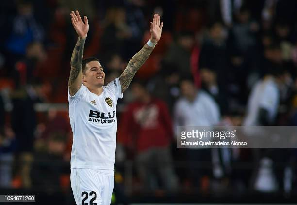 Santi Mina of Valencia CF celebrates following the Copa del Rey Round of 16 second leg match between Valencia CF and Sporting Gijon at Estadio...