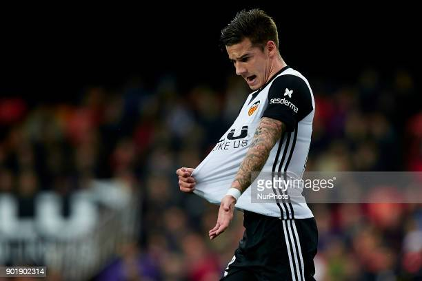Santi Mina of Valencia CF reacts during the La Liga game between Valencia CF and Girona FC at Mestalla on January 6 2018 in Valencia Spain