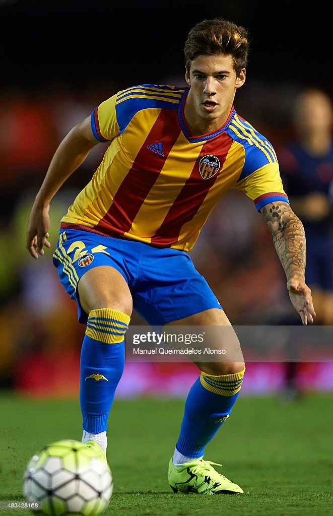 Santi Mina of Valencia in action during the pre-season friendly match between Valencia CF and AS Roma at Estadio Mestalla on August 8, 2015 in Valencia, Spain.