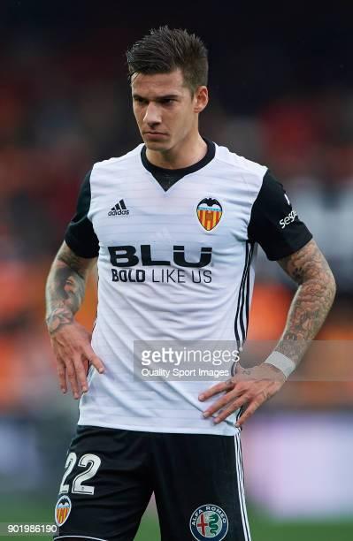 Santi Mina of Valencia reacts during the La Liga match between Valencia and Girona at Mestalla stadium on January 6 2018 in Valencia Spain