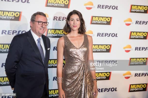 Santi Nolla and Garbiñe Muguruza attend the photocall of the 70th Mundo Deportivo Gala on February 5 2018 in Barcelona Spain