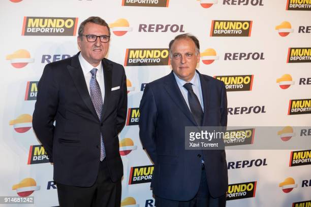 Santi Nolla and Javier Tebas attend the photocall of the 70th Mundo Deportivo Gala on February 5 2018 in Barcelona Spain