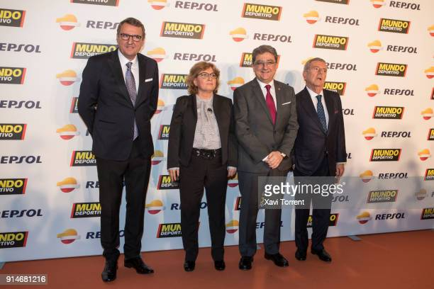 Santi Nolla guest Enric Millo and Javier Godo attend the photocall of the 70th Mundo Deportivo Gala on February 5 2018 in Barcelona Spain